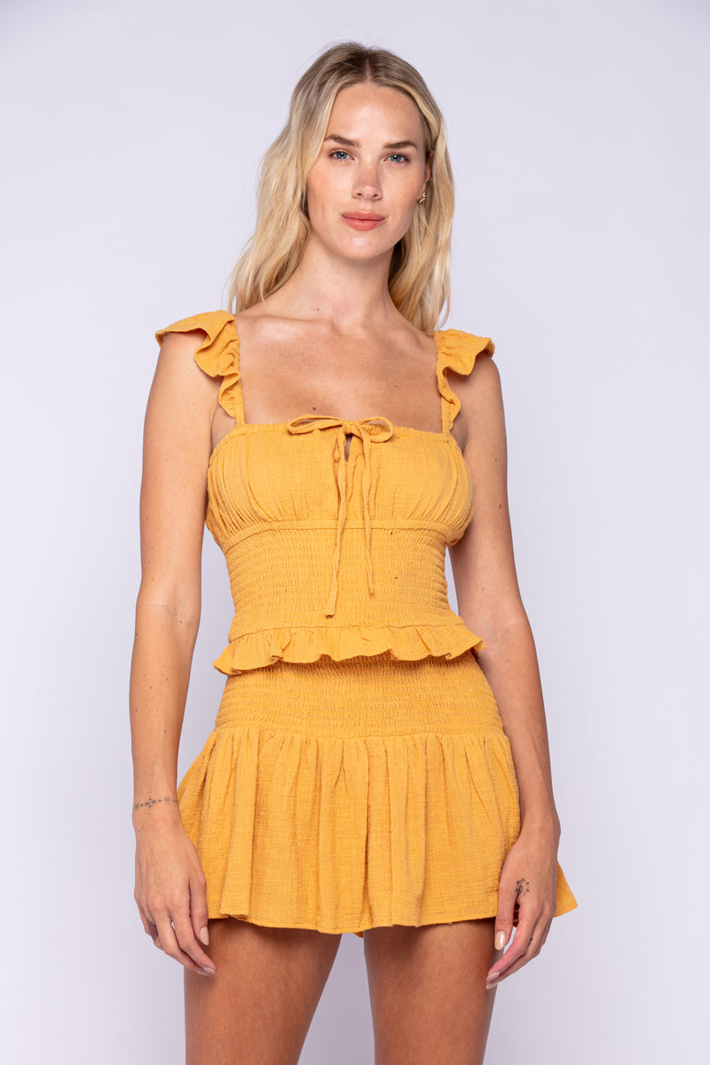 SMOCKED RUFFLE DRESS - BAKED CLAY & BUTTERSCOTCH - RETAIL STORE