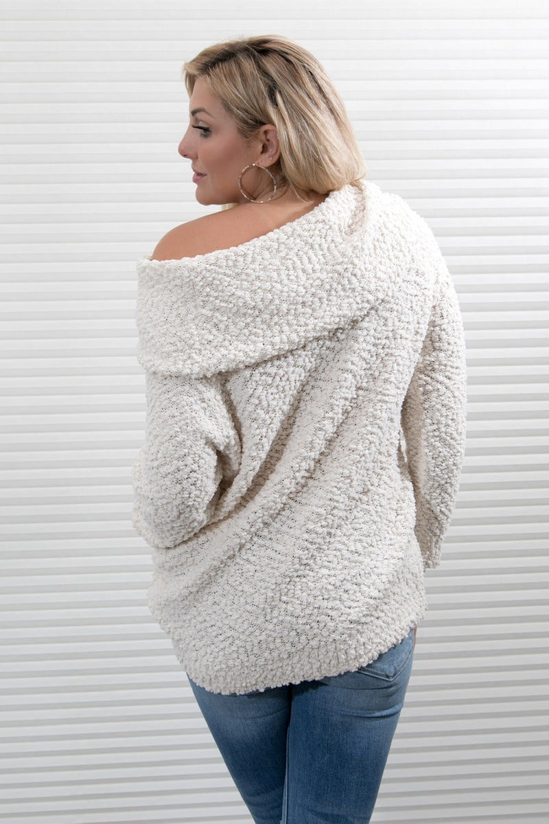COWL NECK OFF THE SHOULDER SWEATER- CREAM
