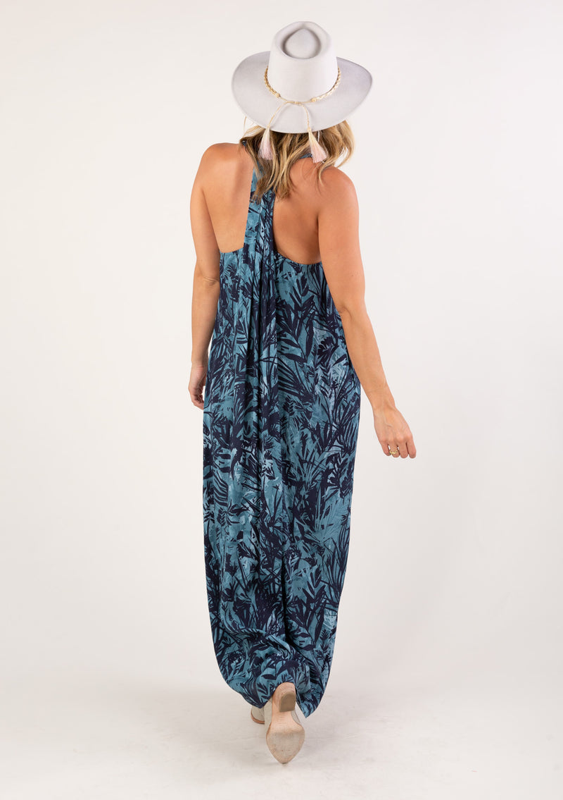 TROPICAL PRINT SLEEVELESS MAXI DRESS - TEAL/MIDNIGHT - RETAIL STORE