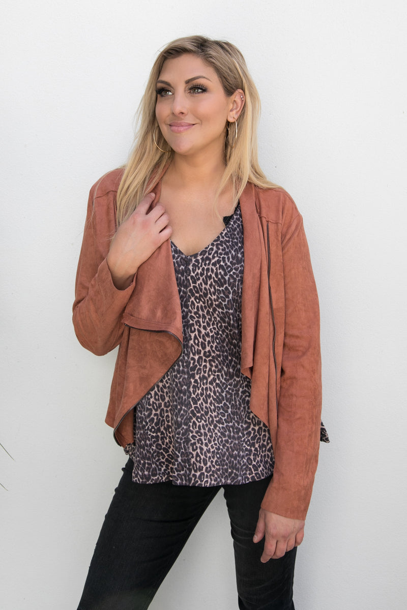 FAUX SUEDE MOTTO JACKET - RUST