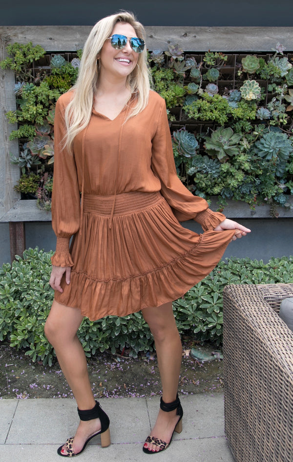 LONG SLEEVE RUFFLE DRESS - CARAMEL