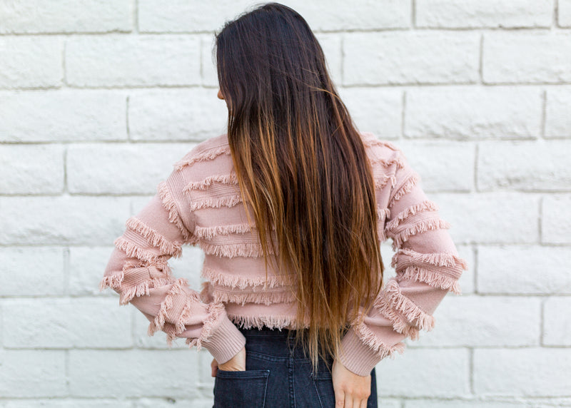 CROPPED FRINGE SWEATER-MAUVE - RETAIL STORE