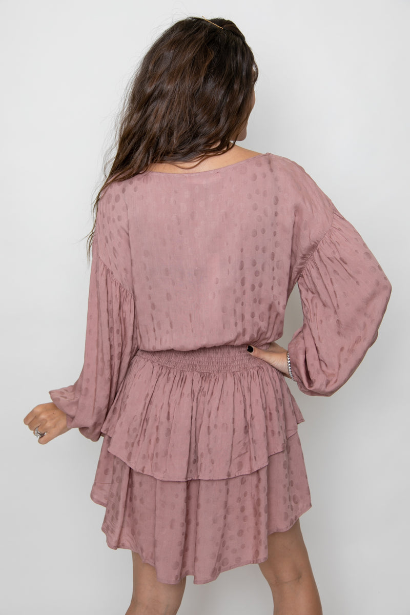 BUTTON UP SHIRRING DRESS-MAUVE