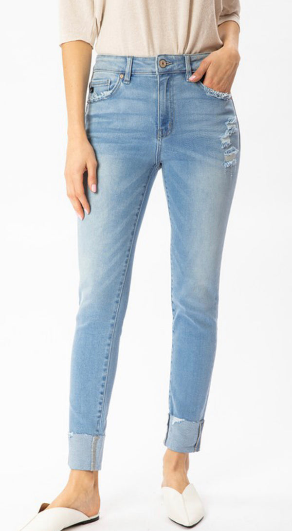 HIGH RISE CUFFED HEM ANKLE SKINNY JEANS - LIGHT WASH - RETAIL STORE