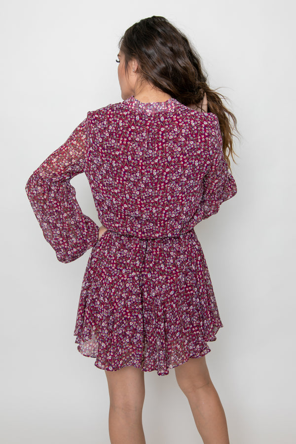 VOLUME SLEEVE TIE WAIST DRESS-FLORAL