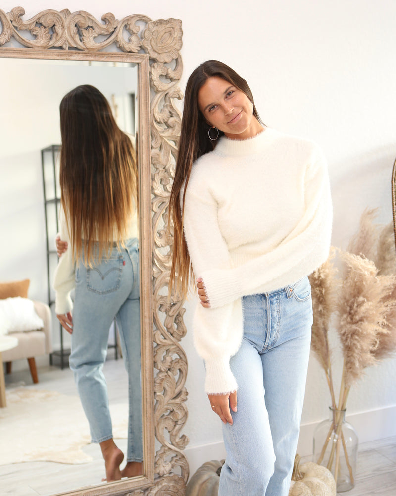 SUPER SOFT LONG SLEEVE SWEATER -  IVORY - RETAIL STORE