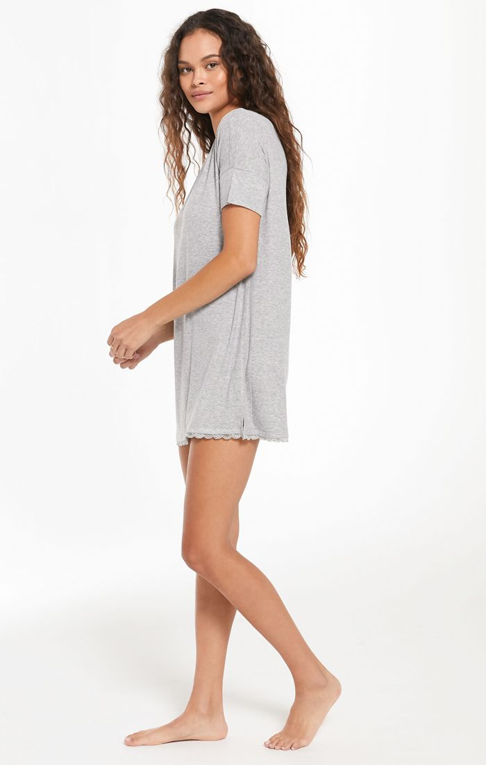 Z SUPPLY GIRLFRIEND RIB DRESS - ROSE QUARTZ & HEATHER GREY - RETAIL STORE
