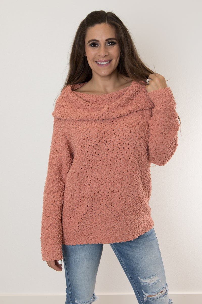 COWL NECK OFF THE SHOULDER SWEATER-PINK CLAY