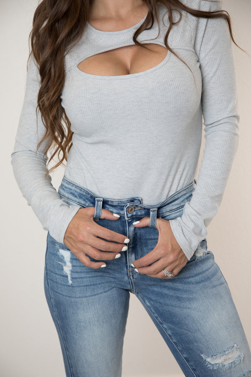 LONG SLEEVE FRONT CUTOUT BODYSUIT-GREY