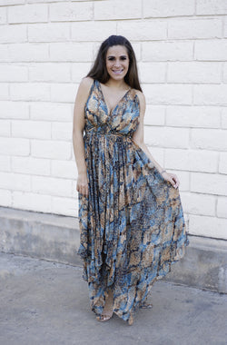 V NECK SNAKESKIN MAXI DRESS