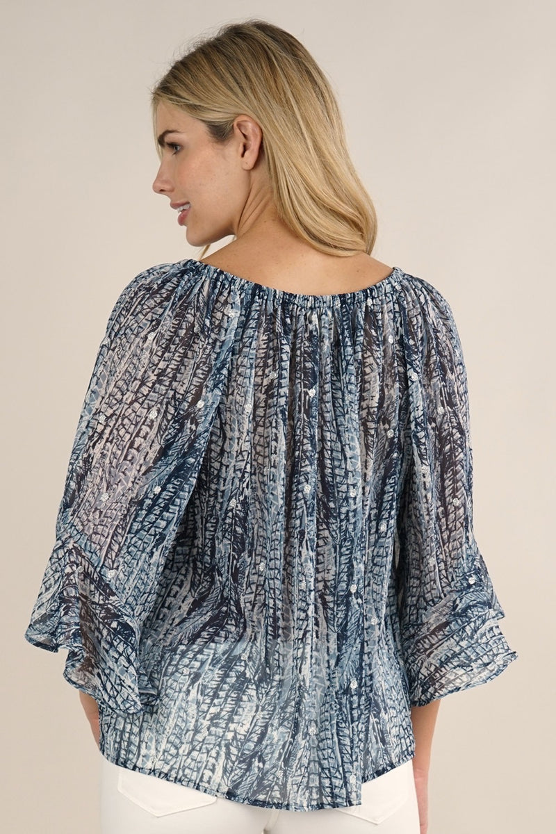 FLUTTER SLEEVE PEASANT TOP W/SHIRRED NECKLINE - NAVY/BLUE - RETAIL STORE