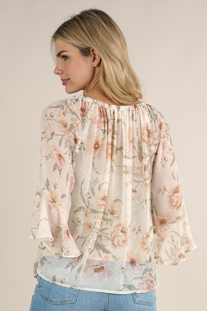 FLUTTER SLEEVE PEASANT STYLE BLOUSE -RETAIL STORE