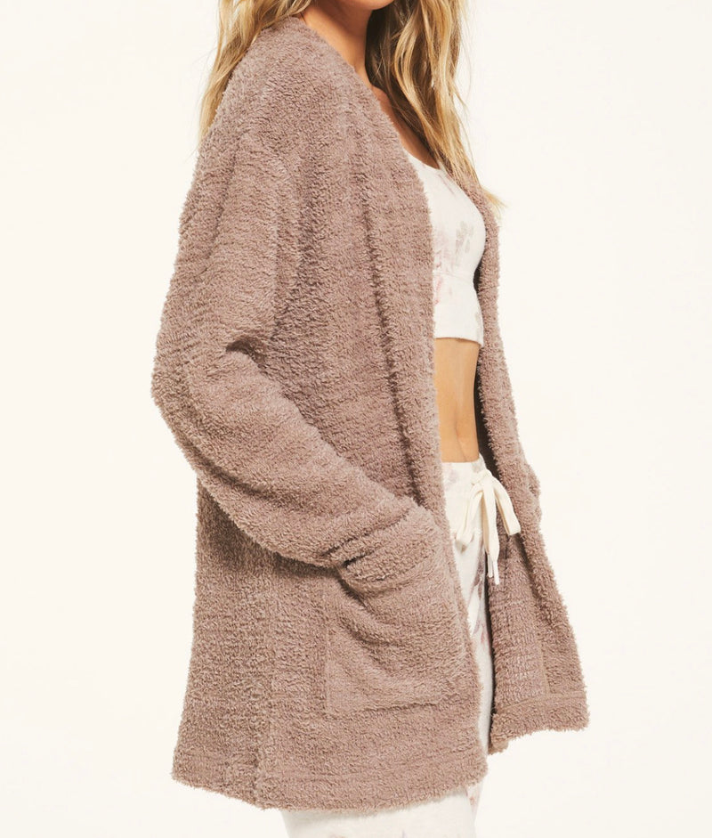 Z SUPPLY CARRIE EYELASH CARDIGAN - BONE & COCOA - RETAIL STORE