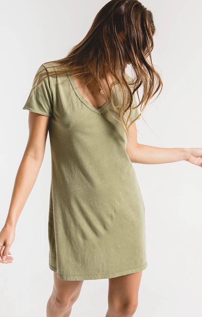 Z SUPPLY ORGANIC COTTON T-SHIRT DRESS - LIGHT SAGE- RETAIL STORE