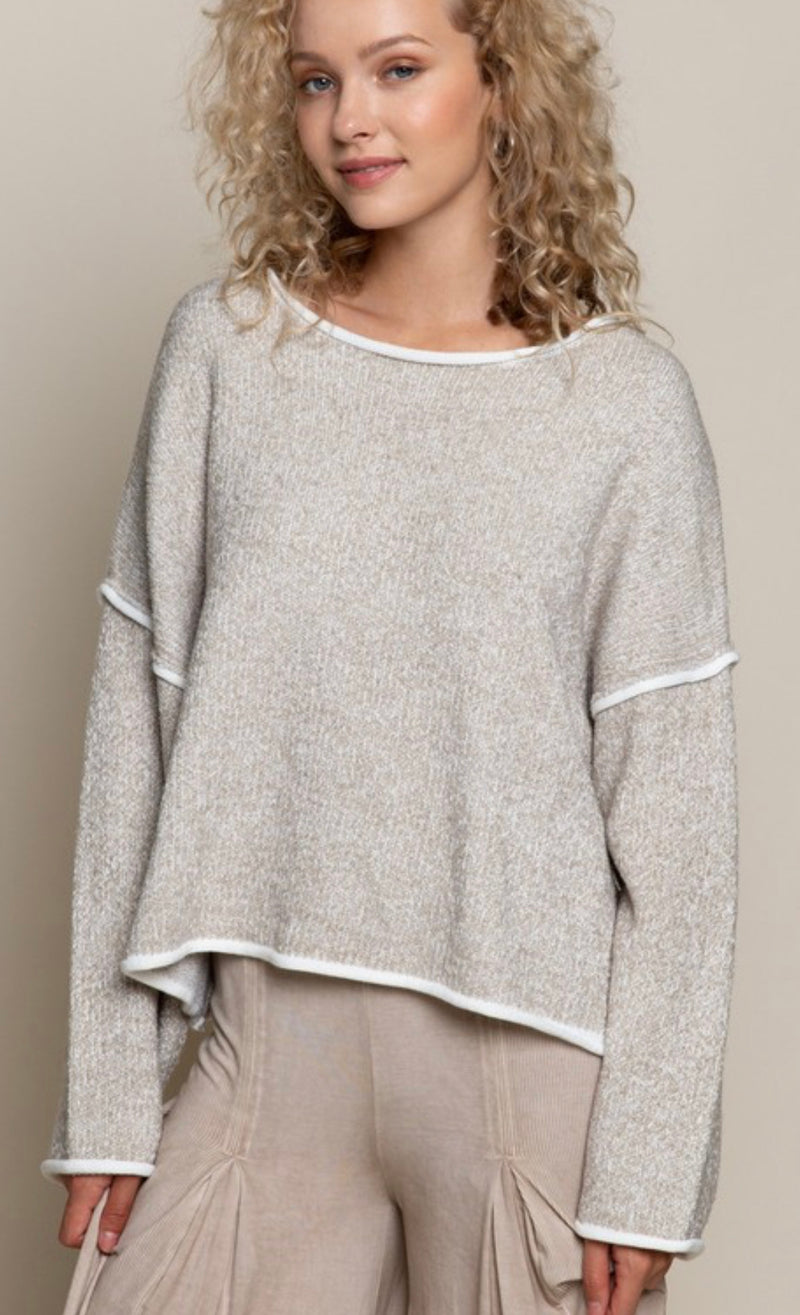 ROUND NECKLINE LONG SLEEVE SWEATER - HEATHER TAUPE - RETAIL STORE
