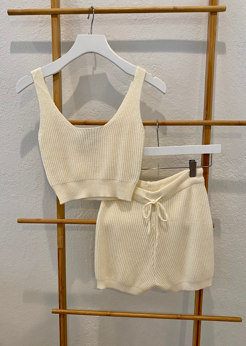SOFT RIBBED TANK AND SHORTS LOUNGE SET - IVORY - RETAIL STORE