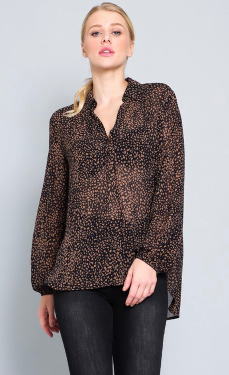 LEOPARD PRINT  LONG SLEEVE BLOUSE - RETAIL STORE