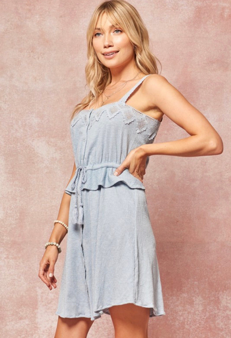 CROCHET LACE WOVEN DRESS - SKY BLUE - RETAIL STORE