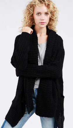 CHENILLE CARDIGAN SWEATER - BLACK AND GREY - RETAIL STORE