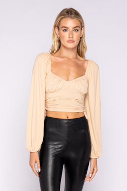 LONG SLEEVE RIBBED TOP - NUDE - RETAIL STORE