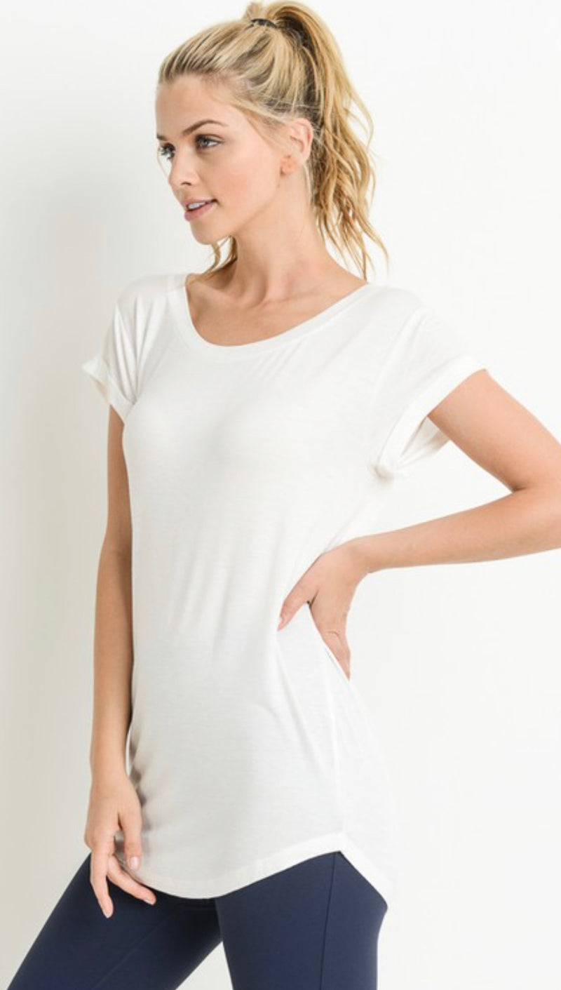 ROUND NECK CAP SLEEVE SHIRT - BLACK, NATURAL & WHITE - RETAIL STORE