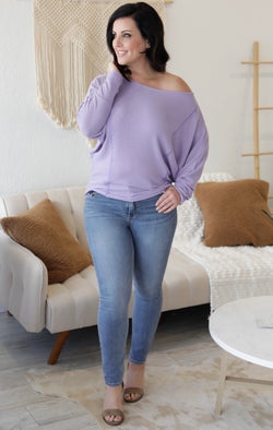 REVERSE STITCH LONG SLEEVE WAFFLE KNIT TOP - LAVENDER