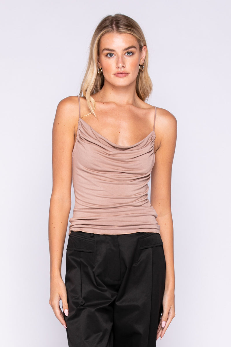 SLEEVELESS RUCHED TOP - BLACK & ROSE DUST - RETAIL STORE
