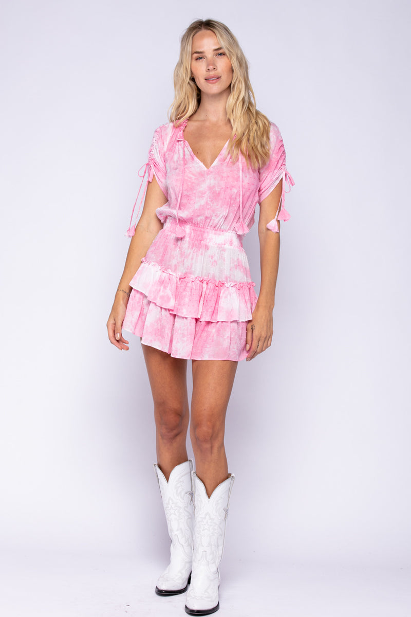 SHORT SLEEVE RUFFLE DRESS - PINK TIE DYE - RETAIL STORE