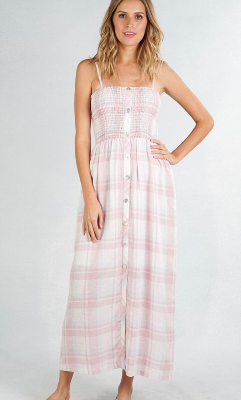 PLAID BUTTON UP SLEEVELESS MAXI PICNIC DRESS - IVORY/PINK/BLUE - RETAIL STORE