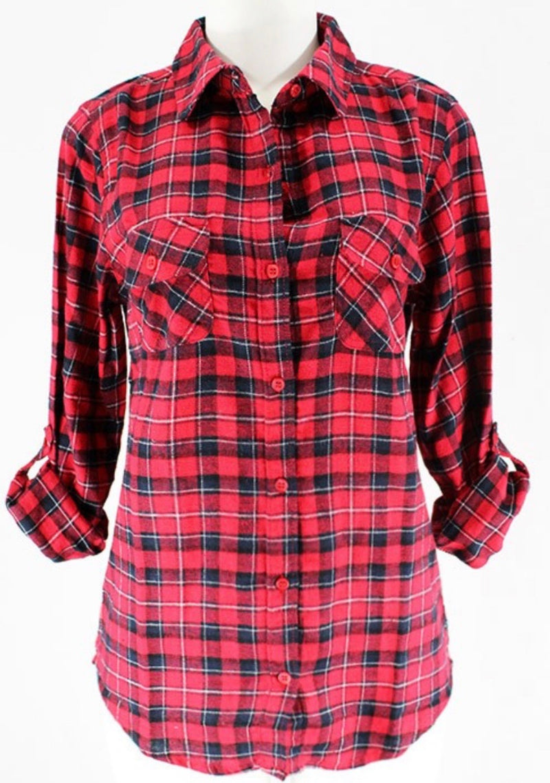 ROLLED UP SLEEVE FLANNEL PLAID SHIRT - RED/BLACK - RETAIL STORE