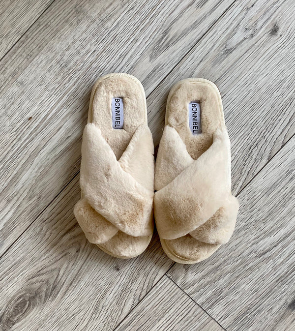 FAUX FUR FUZZY STRAP COMFY SLIPPERS - BEIGE - RETAIL STORE