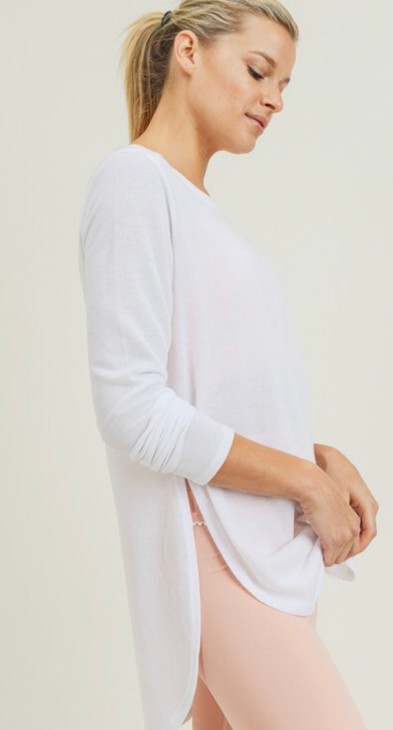 LONG SLEEVE FLOW TOP WITH SIDE SLITS - BLACK, HEATHER GREY & WHITE - RETAIL STORE