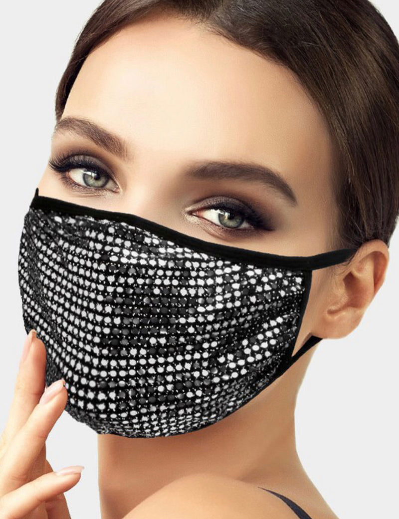 BLING POLKA DOT  FACE MASK WITH POCKET FOR FILTER - BLACK/BLACK, BLACK/SILVER AND WHITE/SILVER - RETAIL STORE
