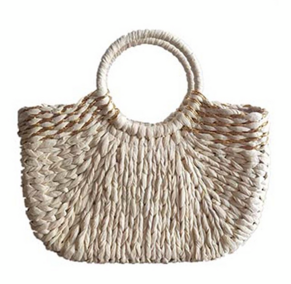 STRAW BEACH BAG - IVORY & KHAKI - RETAIL STORE