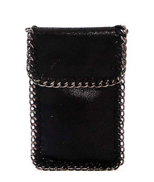 METAL CHAIN CROSS BODY BAG  - BLACK - RETAIL STORE