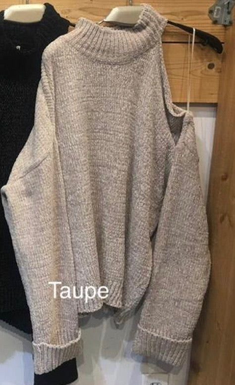 MOCK NECK COLD SHOULDER CHENILLE SWEATER - TAUPE & CHARCOAL - RETAIL STORE
