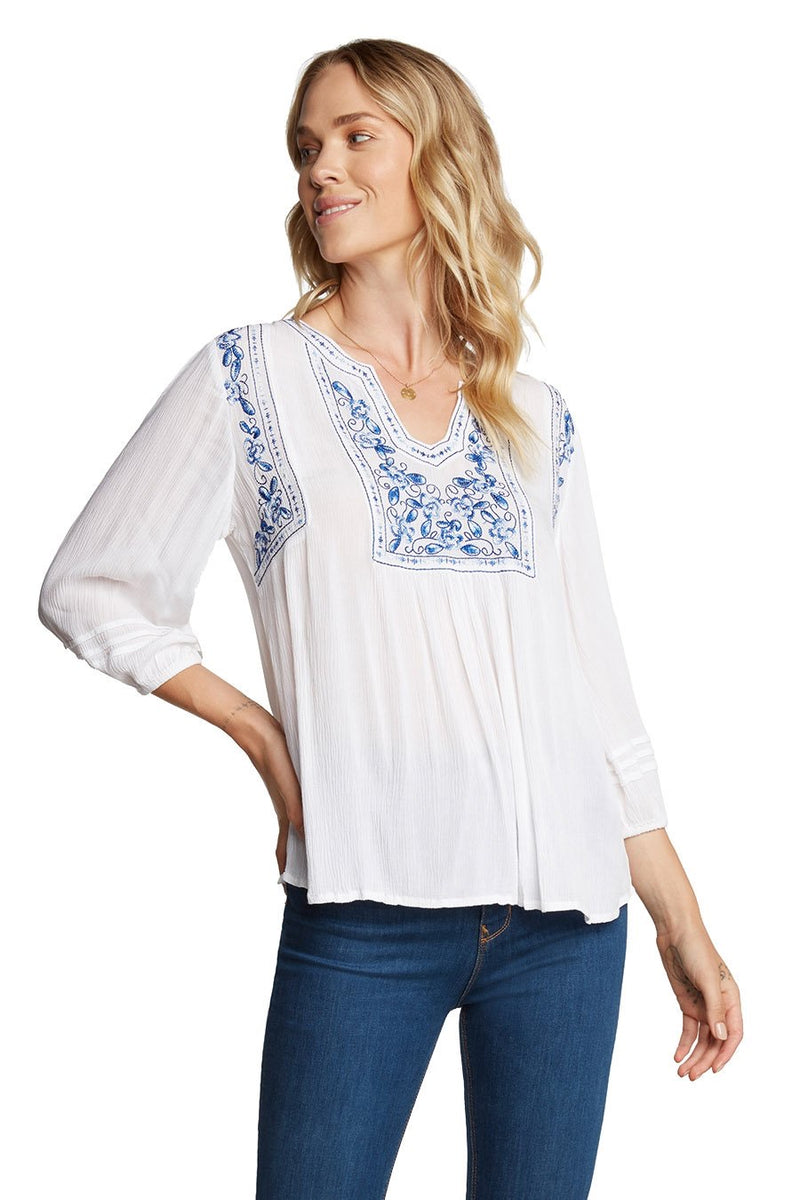 EMBROIDERED BLOUSE - WHITE/EMBROIDERED RETAIL STORE
