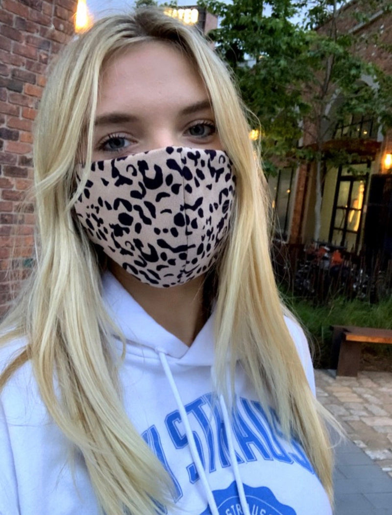 FACE MASK W/ POCKET FOR FILTER - BEIGE LEOPARD - RETAIL STORE