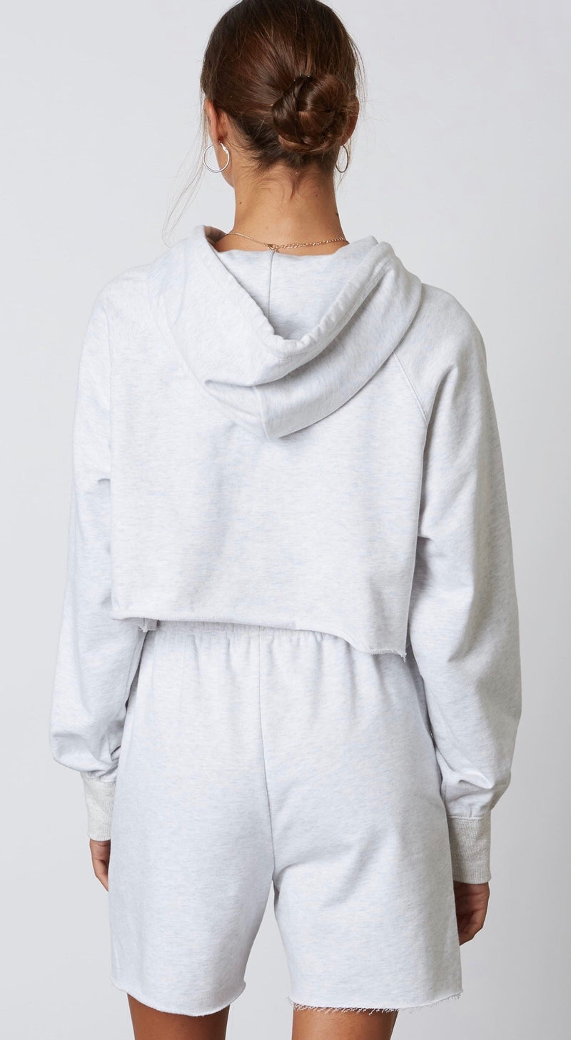 EXTRA CROPPED RAW HEM HOODIE - ASH & COCOA - RETAIL STORE