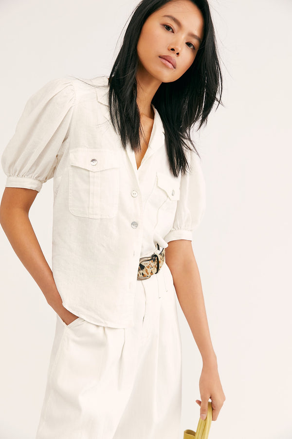 FREE PEOPLE SAFARI BABE TOP - ANGEL FOOD/WHITE - RETAIL STORE