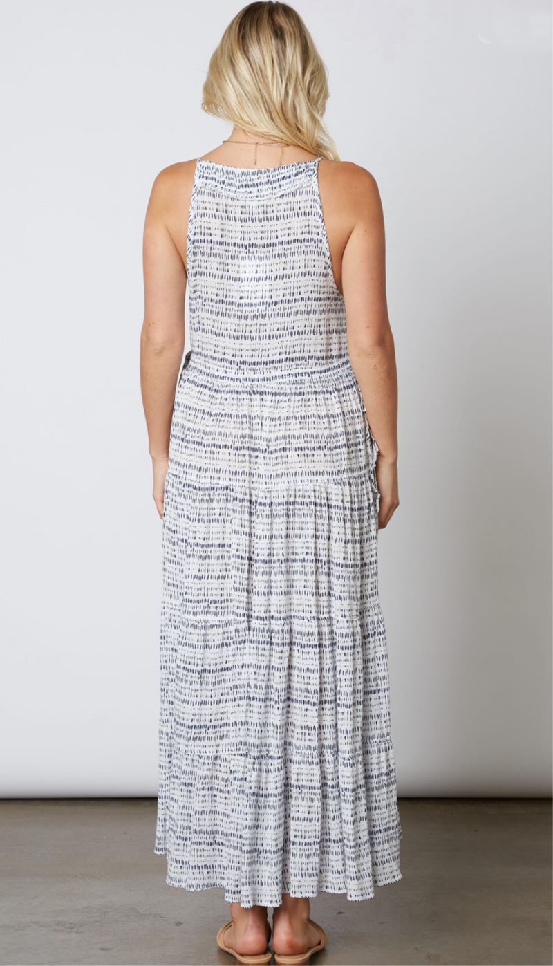 PRINTED MAXI DRESS - WHITE/INDIGO - RETAIL STORE
