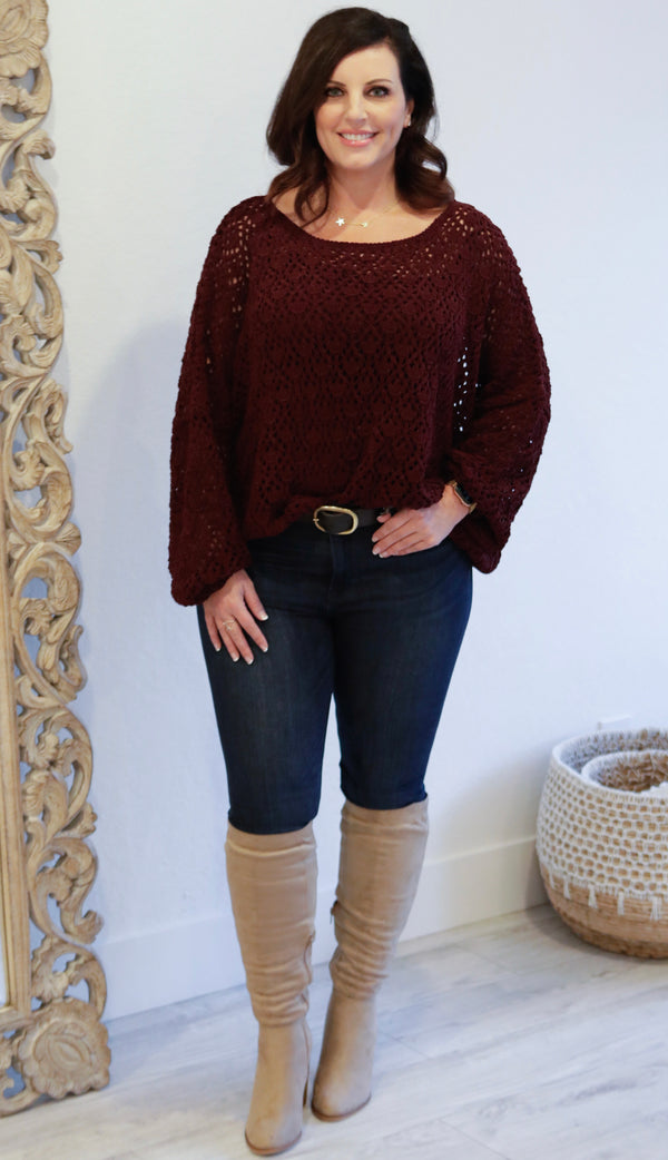 SCOOP NECK LATTICE KNIT SWEATER - EMERALD & PLUM - RETAIL STORE