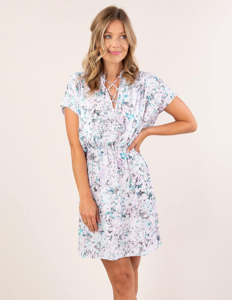 BOHO FLORAL SHORT SLEEVE MINI DRESS - AVAILABLE IN SKY/BLUE AND LAVENDER/AQUA- RETAIL STORE