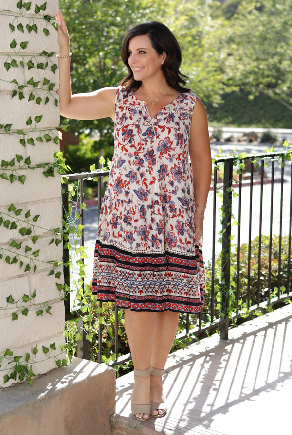 TWO TONED FLORAL PRINTED V-NECK DRESS - CREAM