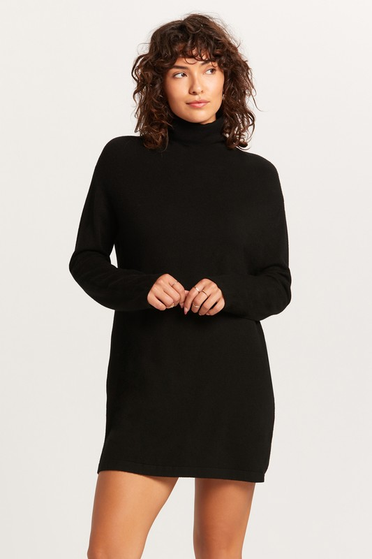 TURTLENECK SWEATER DRESS - BLACK - RETAIL STORE