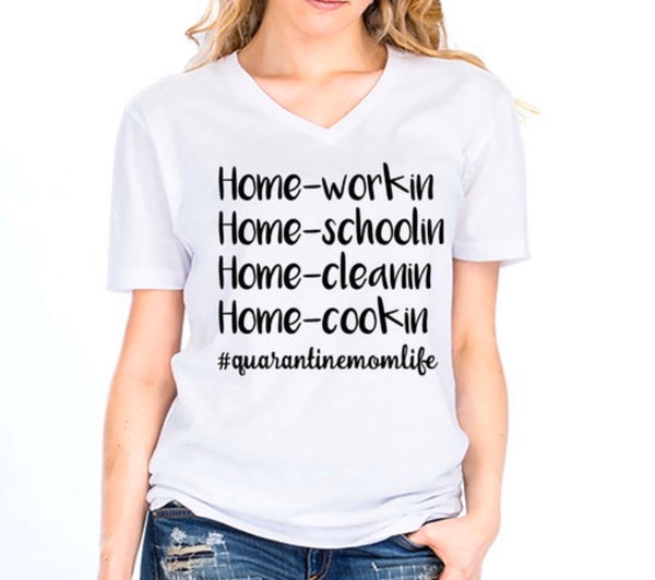 QUARANTINE MOM LIFE  V-NECK TEE - WHITE - RETAIL STORE