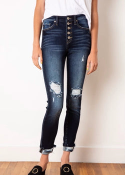HIGH RISE BUTTON FLY ANKLE SKINNY - DARK WASH