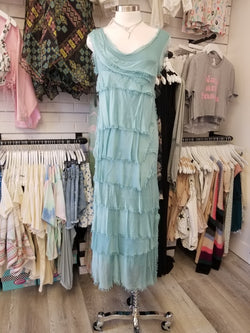 LAYERED RUFFLE MAXI DRESS - 3/4 LENGTH - BLACK, DENIM, FUCHSIA, LIGHT TEAL, PINK, ROYAL - RETAIL STORE
