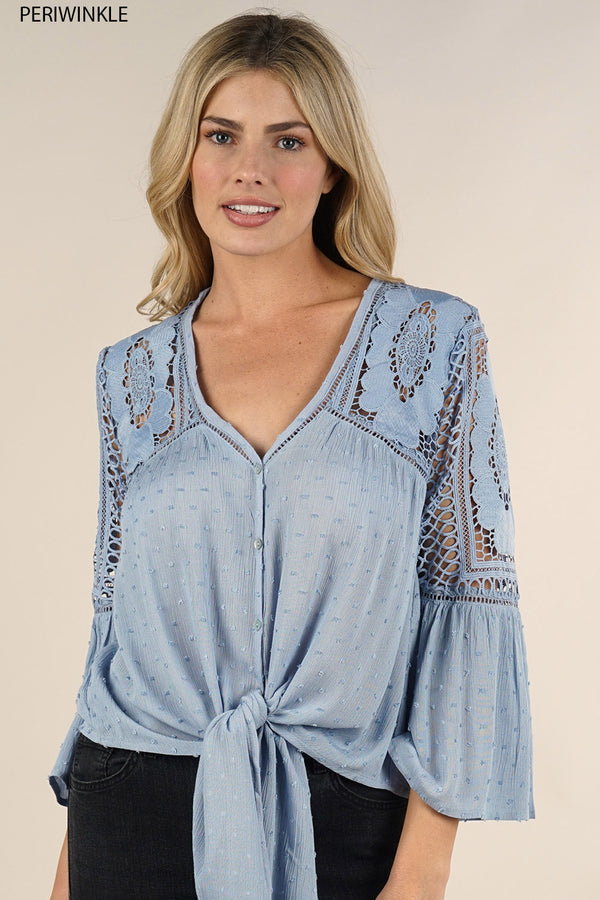 CROCHET TIE FRONT BLOUSE - AVAILABLE IN PERIWINKLE AND NATURAL - RETAIL STORE