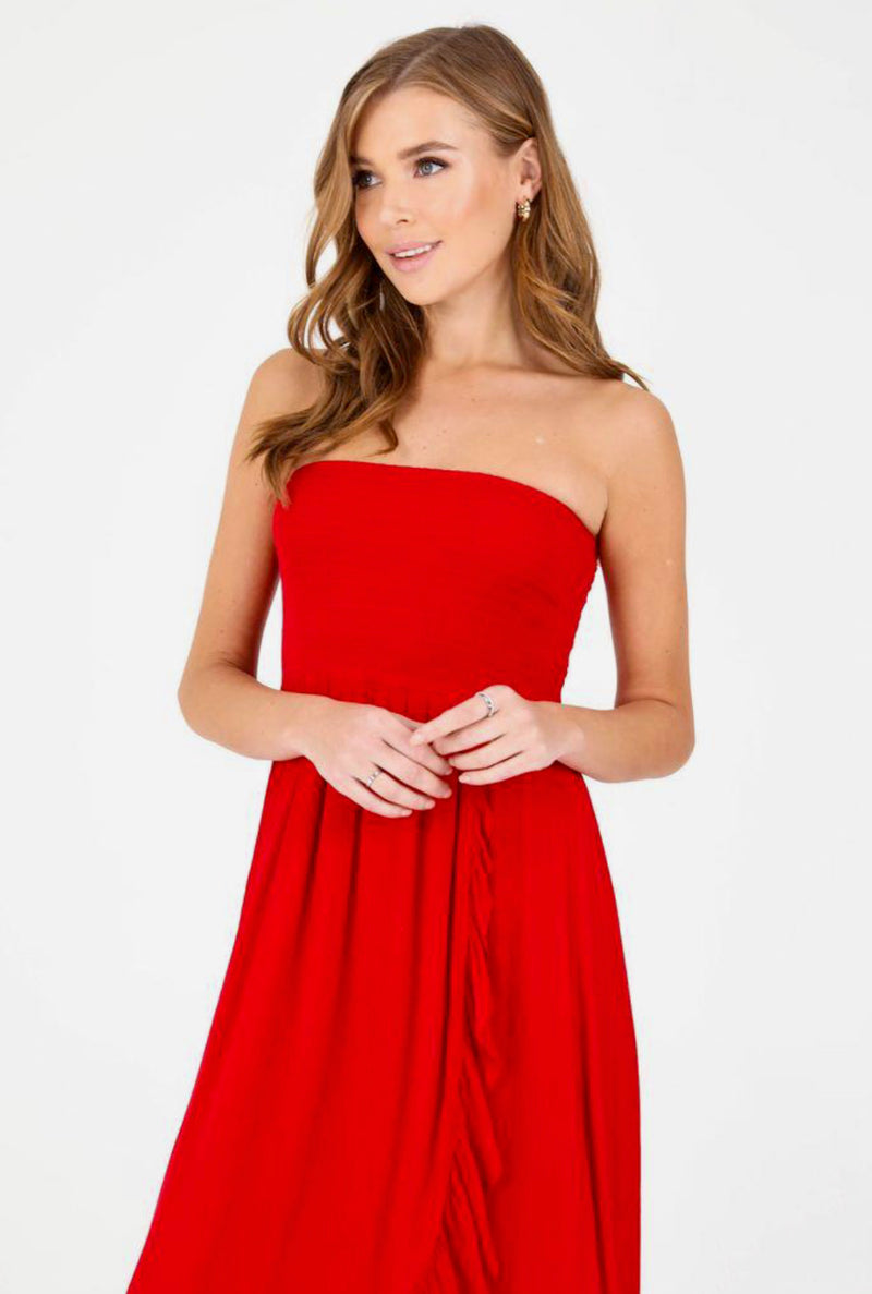 PATRONS OF PEACE-STRAPLESS MIDI DRESS -RED- RETAIL STORE